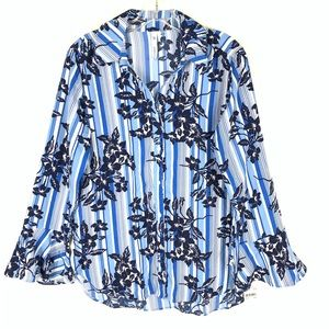 NY Collection blue stripe floral button up blouse